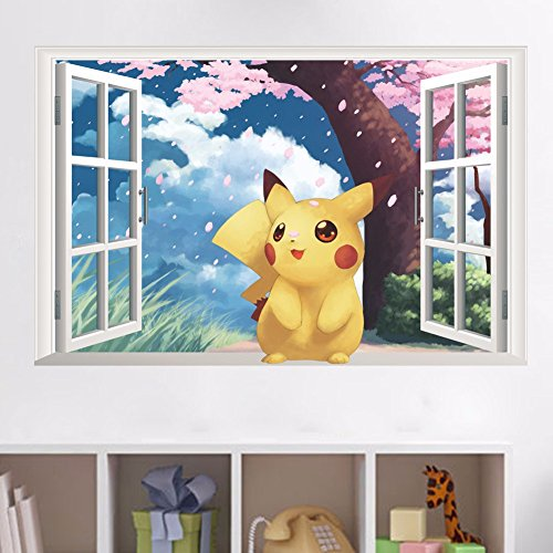 Gadgets wrap Cute Pikachu Fake Window Wall Decal for Home or Office Wall