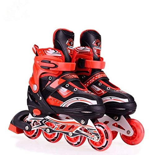 RIVET ENTERPRISE Red Inline Skates Size Adjustable All PU Wheels with Aluminum-Alloy, LED Flash Light, Age Group 6-14 Years