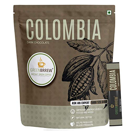 Greenbrrew Colombia Green Coffee Instant Beverage Premix For Weight Management - 30G (Dark Chocolate, 20 Sachets)