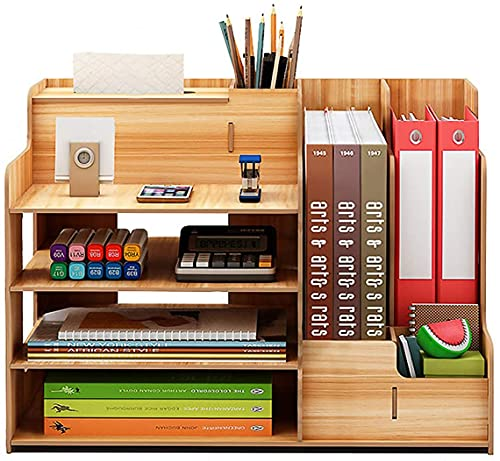 CRISELL Wooden Office Desk Organiser and Accessories, Multi-Functional Stationary Supplies Desktop Organizer Set, Small Wood Desk Organization, Easy Assembly Table Organiser (Desk Organizer)