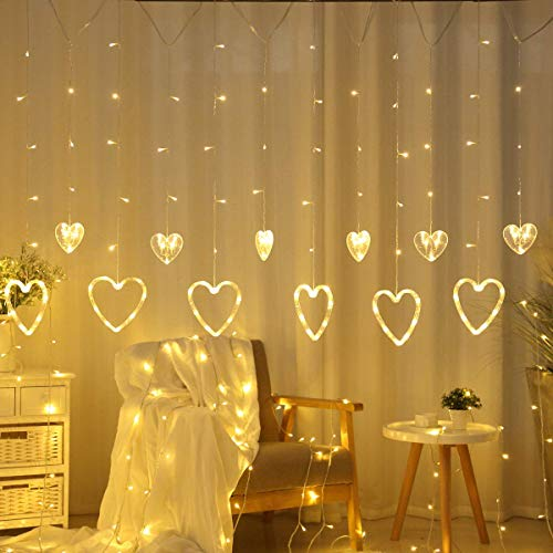 CITRA 138 LED Love Heart String Lights, Curtain String Lights with 8 Flashing Modes for Home Decoration - Warm White