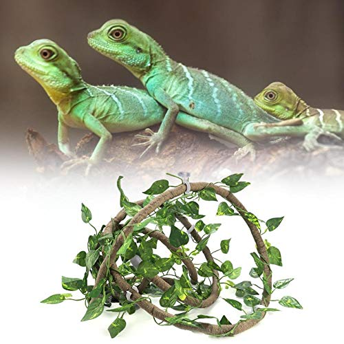 Reptile Climbing Branch, Life-Like Rattan Reptile Flexible Branch, for Chameleons Lizards(Large 3m Rattan + Green Leaf)