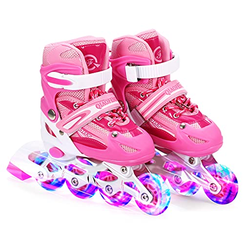 Decdeal Adjustable Illuminating Inline Skates with Light Up Wheels for Kids and Adults for Girls and Boys Men and Women
