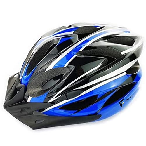 FABSPORTS Light Weight Bicycle/Bike Helmet with Flexible Padding for Kids and Adults, Adjustable Size, for Road & Mountain Cycling/Skating (Black::Blue)