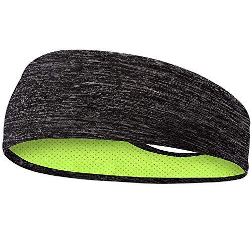 SKUDGEAR Mens Headbands - Guys Sweatband & Sports Headband for Running, Working Out, Racquetball - Performance Stretch & Moisture Wicking (Black with Grey Stripes)