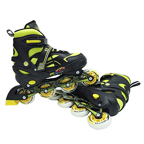 Rihish Toys Children's Inline Skates Unisex Outdoor Adjustable Size 7-9 UK Roller Shoes Bearing Wheel Best for Boys and Girls Full Edition Inline Skating with Bag (Color Assorted, Size 7-9 UK)