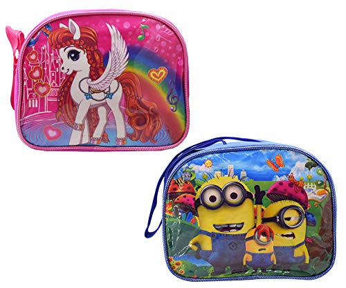 Asera Kid's Minion & Pony Cartoon Character Sling Bag for Picnic (Multicolour) - Pack of 2