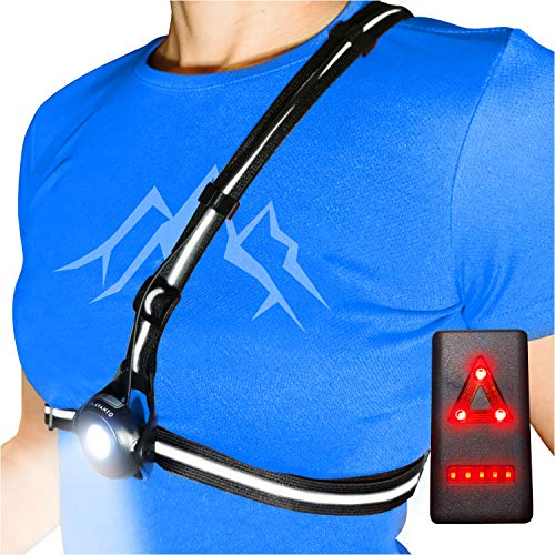 AVANTO Chest Running Light for Runners and Joggers with Adjustable Beam and Reflector, All in one Reflective Running Vest Gear, Safety Light, Headlamp Flashlights, USB LED Rechargeable Bicycle Light