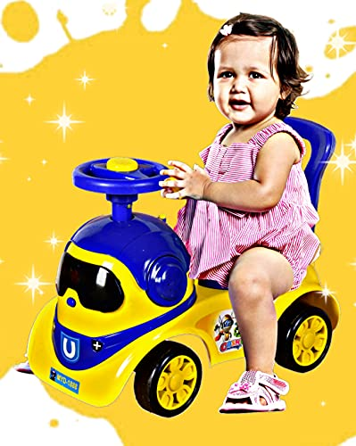 Cosmo Robot Kids Ride On Car with Under Seat Storage, Music & Light for for Baby Kids Boys and Girls (1 Year to 4 Years, Yellow/Blue)