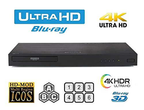 LG UBK80 UHD 4K -2D/3D Region Free Blu Ray Disc DVD Player PAL/NTSC USB -100-240V 50/60Hz for World Wide Use and 6 ft Multi System HDMI Cable