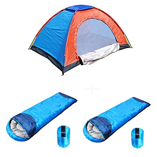 shopper 52.com shopper 52 Portable Polyester 2 Person Foldable Camping Tent with Waterproof Thick Carry Bed Sleeping Bag for Picnic/Hiking/Trekking -2 Pieces