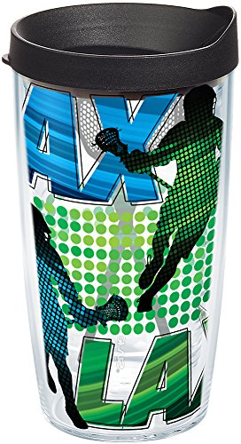 Tervis 1202880 Lacrosse Logo Tumbler with Wrap and Black Lid 16oz, Clear