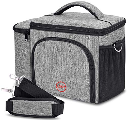 DOUBLE R BAGS Meal Prep Lunch Bag Insulated Lunch Bag Lightweight and Reusable Food Cooler Lunch Box Insulation and Large Capacity with Adjustable Shoulder Strap for Men Women Kids (Oxford Grey)