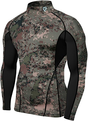TSLA Men's Cool Dry Fit Long Sleeve Compression Shirts, Athletic Workout Shirt, Active Sports Base Layer T-Shirt, Zero Block(t12) - Camo Green, S