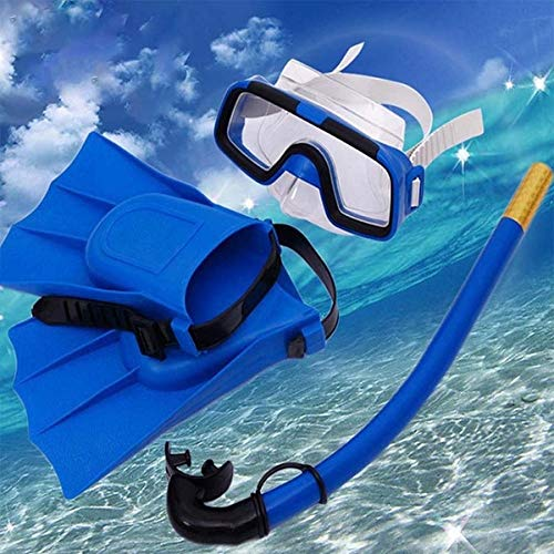 vellex Snorkel Set Snorkeling Gear Package Diving Set Premium Silicone Dive Mask Snorkel Equipment Goggles Anti-Fog Anti-Leak Neoprene Mask Freediving Spearfishing Swimming (Blue with fins)