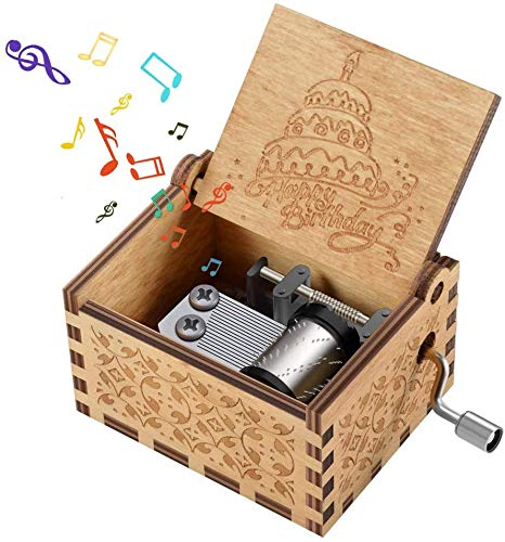 PATPAT Wood Hand cranked collectable Engraved Music Box, Multicolour