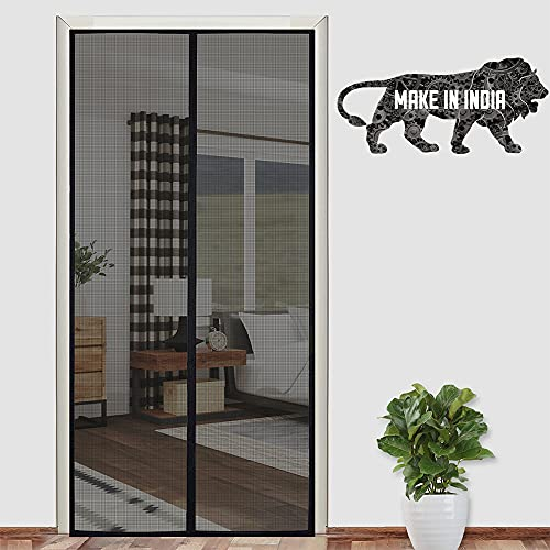 Lifekrafts Polyester Mosquito Screen Curtain for Main Doors, Balcony Mesh with Magnets (Black, 210 x 110 Cms)