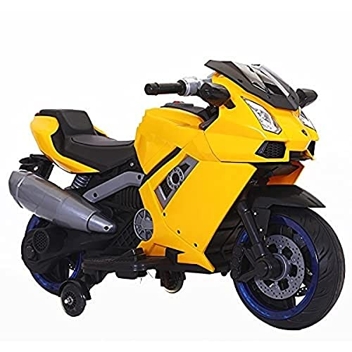 SHAKYA WORLD Battery Operated Electric Sports Ride on Lamborg Battery Bike for 1 to 6 Years Kids/Boys/Girls with 12V Battery Operated/Music System/Working Lights/Training Wheels-Yellow