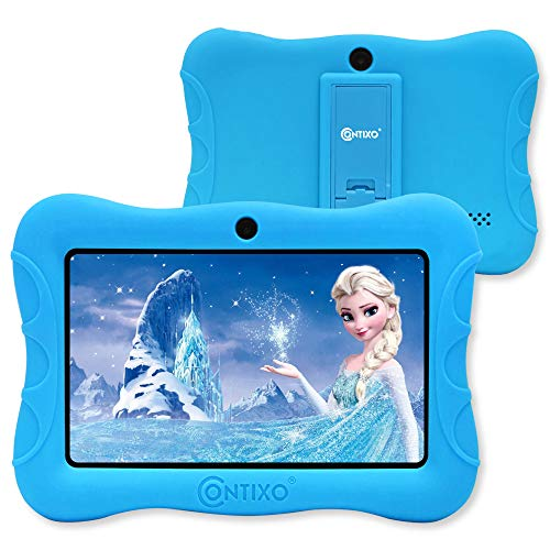 Contixo IZI V9 2GB RAM 32 GB ROM 7 Inch Kids Tablet, Android 10 Tablet, Educational Kids, Parental Control Pre Installed Learning Game Apps with WiFi Bluetooth Tablets for Kids 6+ Age (Blue)