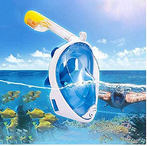 Cloyster Kids Adults Snorkel Mask Full Face, Snorkeling Gear with Camera Mount, 180 Degree Panoramic View Snorkeling Set Anti-Fog Anti-Leak