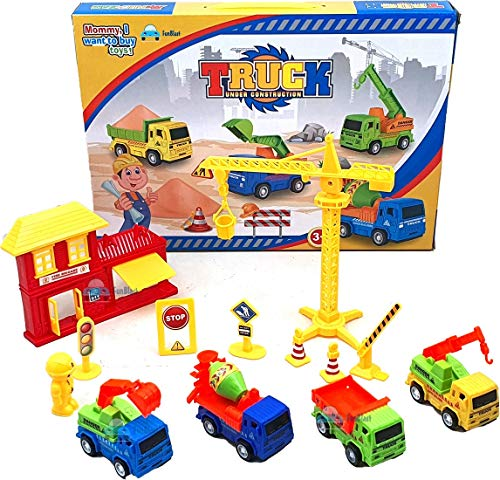 FunBlast Little Engineer Pull Back Construction Truck Toys – 4 Pcs Vehicles Play Set with Construction Accessories Toys and Games for Kids,Boys - Multicolor