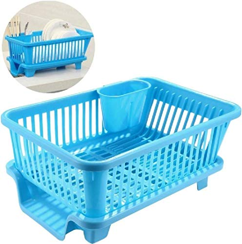TS WITH TECHSUN 3 in 1 Large Plastic Sink Set Dish Rack Drainer Drying Rack Washing Basket with Tray (Blue)