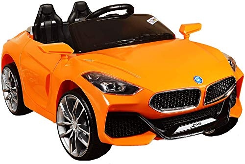 GetBest GetBolles Z4 Electric Ride on Car for Kids with Rechargeable 12V Battery, Music, Lights and Swing (Orange)
