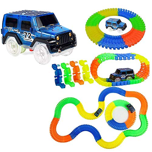 NIYAMAT® Magic Race Bend Flex and LED Lights Glow Tracks- 220 Piece Long Flexible Tracks Toy Car for Kids Best Gifts (Plastic, Multicolor)