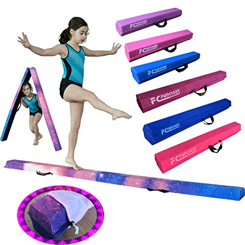 FCfuncheer 8FT Folding Floor Gymnastics Equipment for Kids Adults,Non Slip Rubber Base, Gymnastics Beam for Training, Practice, Physical Therapy and Professional Home Training (Magic Star)