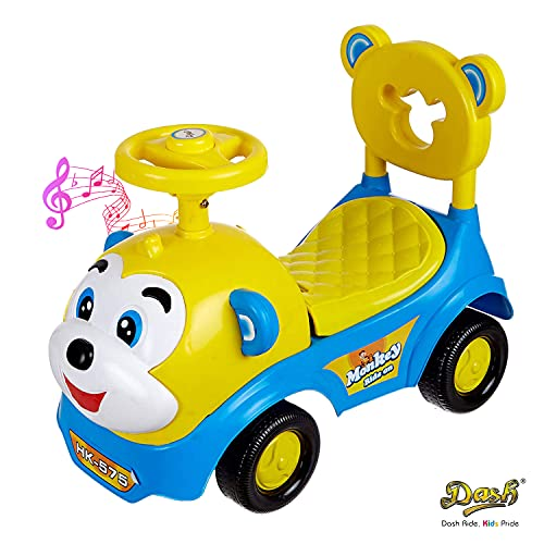 Dash Baby Toy Monkey Ride On , Baby car , Kids car , Toy car , Push Car with Musical Tunes Toy for 1 Year Old Baby (Blue)
