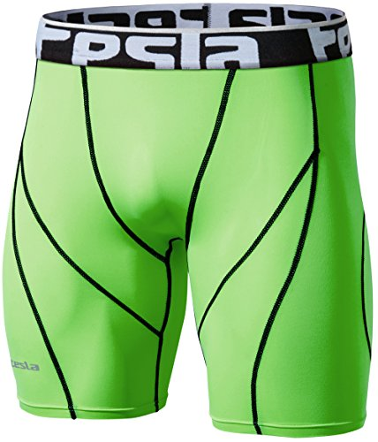 TSLA Men's Athletic Sports Performance Active Cool Dry Running Shorts, Compression Shorts, Zero(s17) - Neon Green, L