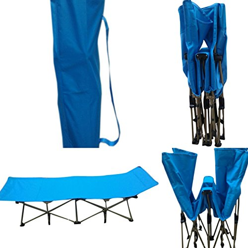 Young India Impex Folding Portable Light Weight Outdoor Camping Travelling Bed Cot With Carry Bag (Blue)