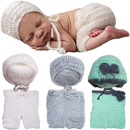Babymoon (Set of 2) Pant with Cap Crochet New Born Baby Photography Shoot Props Costume (Grey)