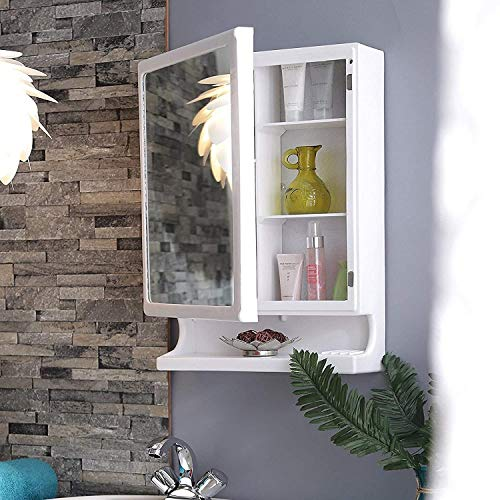 URBAN DESIRES Bathroom Cabinet with Mirror Plastic Strong and Heavy New Look 6 Shelves Storage Organiser and Shelf, 22 x 14 inches, White Make in India nlw 3ct