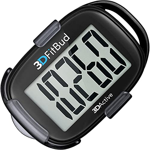 3DActive 3DFitBud Simple Step Counter Walking 3D Pedometer with Clip and Lanyard