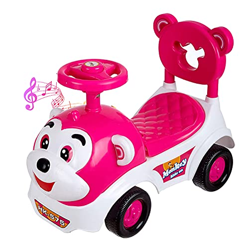 Dash Baby Toy Monkey Ride On, Baby Car, Kids Car, Toy Car, Push Car With Musical Tunes Toy For 1 Year Old Baby (Pink)