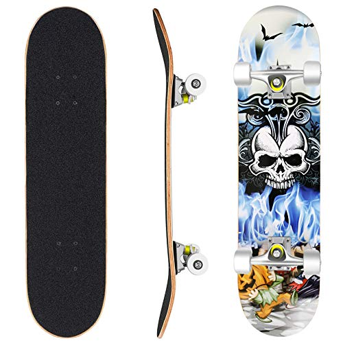Hikole Pro Skateboard Complete - 31' x 8' Double Kick 9 Layer Canadian Maple Wood Tricks Skate Board for Beginner, Birthday Gift for Kids Boys Girls 5 Up Years Old