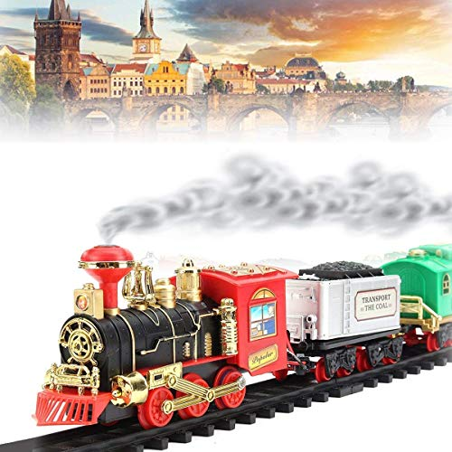 play design battery operated choo choo classical toy train set emits real smoke with light and sound track set for kids- Multi color