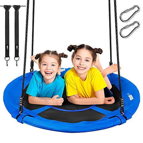 VIVOHOME 41 Inch 600 lbs Saucer Tree Swing for Kids Adults, 900D Oxford Waterproof Frame, 2 Tree Hanging Straps Included, Blue