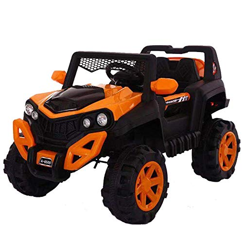 WHEEL POWER Baby Toy Car to Drive, Rechargeable 12V Battery Operated Ride-On Car for Kids Music Lights with R/C Jeep, Electric-Car, Kids Car, Racing Car for Boys & Girls Age 2-6 Years Old (Orange)