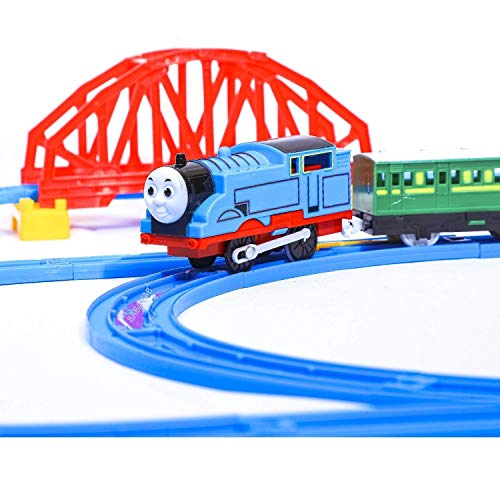 EYESIGN Kids Toy Train Battery Operated Adventure Train Set with Light & Sound, Over-Bridge & Tunnel Cave and Tracks (Toy Train)