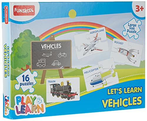 Funskool Play & Learn-Vehicles,Educational,16 Pieces,Puzzle,for 3 Year Old Kids and Above,Toy