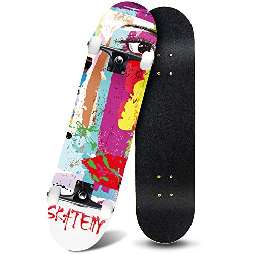 ANDRIMAX Skateboard-Complete Skateboards for Beginners Kids Boys Girls Adults Youth-Complete Skateboards 31''x8'' with 7 Lays Maple Deck Pro Skate Boards.