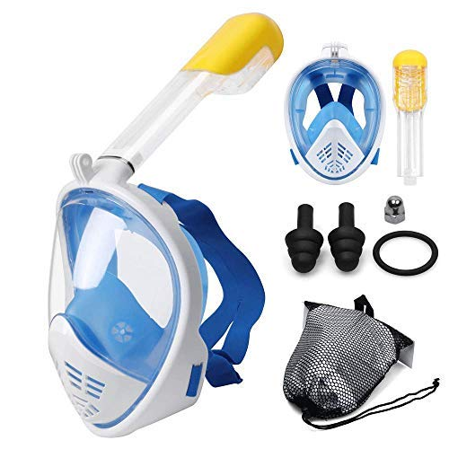 Jukkre Snorkel Mask Full Face for Kids and Adults - Anti-Fog and Anti-Leak Easybreath Snorkeling Gear - Dive Scuba Mask with 180 Panoramic View and 4 Bonus Items as Snorkel Set (Multi)