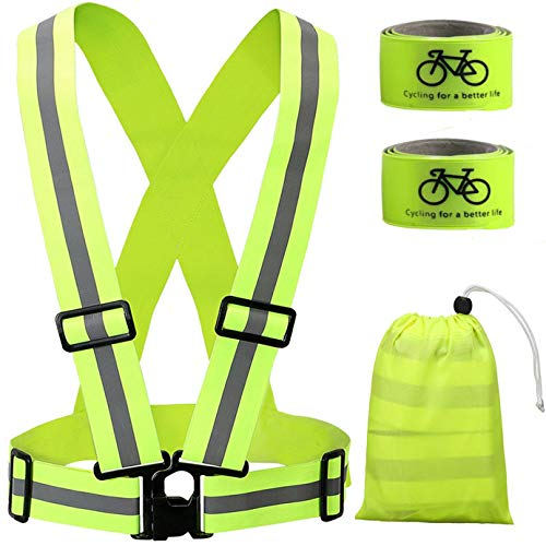 Reflective Running Vest, Safety Vest Gear High Visibility Adjustable Belt Bands Lightweight Portable for Runner Outdoor Activities Running, Motorcycle Riding,Walking, Jogging and Hiking