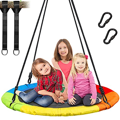 Trekassy 7000lb 40 Inch Saucer Tree Swing for Kids Adults 900D Oxford Waterproof with Swivel, 2pcs 10ft Tree Hanging Straps, Steel Frame and Adjustable Ropes--Rainbow