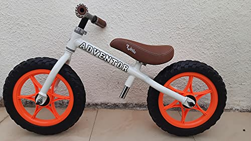 Adventor Balance Bike with Plastic Wheels for Kids Ages 2-5 Years (White-Orange)