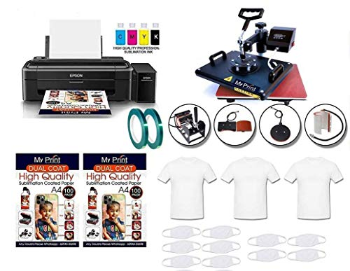 MY PRINT Metal Heat Press 5 in 1 Multi Functional Machine with Sublimation Printer Epson L130 with Sublimation Ink (Black, Pack of 1)