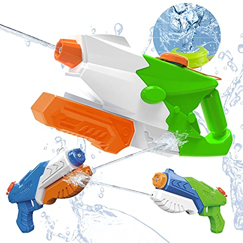 Water Guns for Kids, Squirt Guns 3 Pack Blaster Soaker High Capacity 1000CC 450CC, Shoot Up to 35 Feet,Summer Beach Sand Swimming Pool Party Favors Outdoor Fighting Toy for Adults Boy Girl Ages 4-8