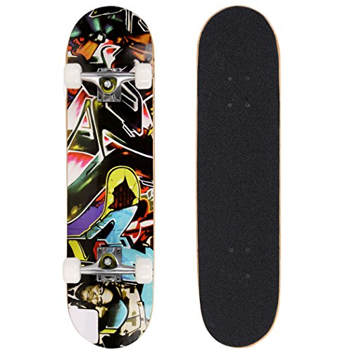 Pro Skateboard - 31' X 8' Complete Skateboard, 9 Layer Maple Wood Skateboard Deck with Double Kick Concave Design for Kids Boys Youths Beginners